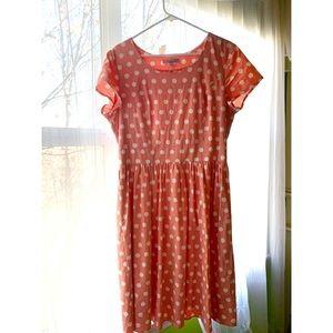 Downeast Coral Polka Dot Modest Dress